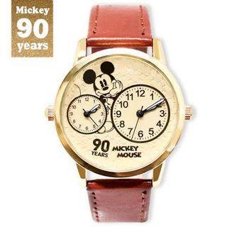 米奇90周年紀念 系列手錶 - 托腮米奇 雙眼 雙時區 皮帶錶 (限量販售)
