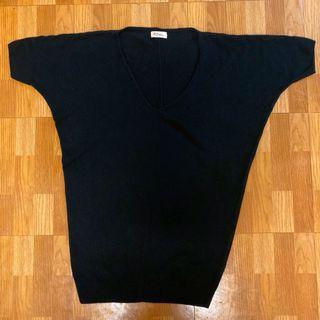V領 五分袖 黑色針織長版