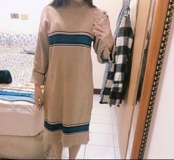 針織長版洋裝