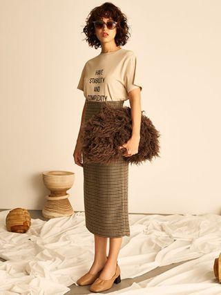 [二手|免運]日本正品 Mila Owen 千鳥格直筒長裙