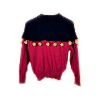 ♨️可愛垂墜小球紅黑毛衣♨️古著 復古 古着