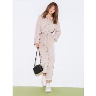 [全新|免運]日本正品 GRL 坑條紋工裝連身褲 附腰帶