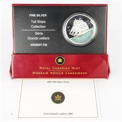 2005 $20 Tall Ships Series 3-Masted Ship HOLOGRAM Silver Coin