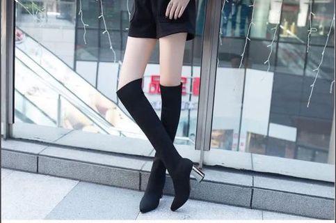 顯瘦神器粗跟好搭彈性過膝針織襪靴·尺碼38