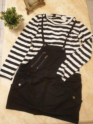 黑白條紋拼接黑吊帶裙洋裝#出清2019