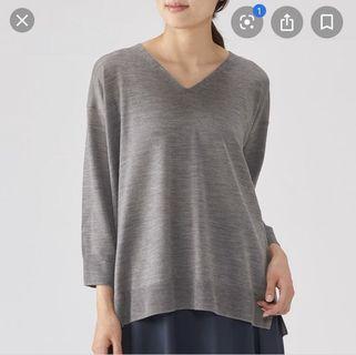 Muji 無印良品灰色針織混蠶絲上衣 grey knit top #2019出清