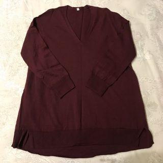 Muji 無印良品酒紅針織混蠶絲上衣 Burgundy knit top #2019出清