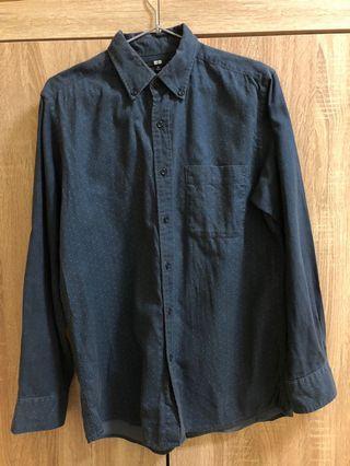Uniqlo 深藍正式襯衫