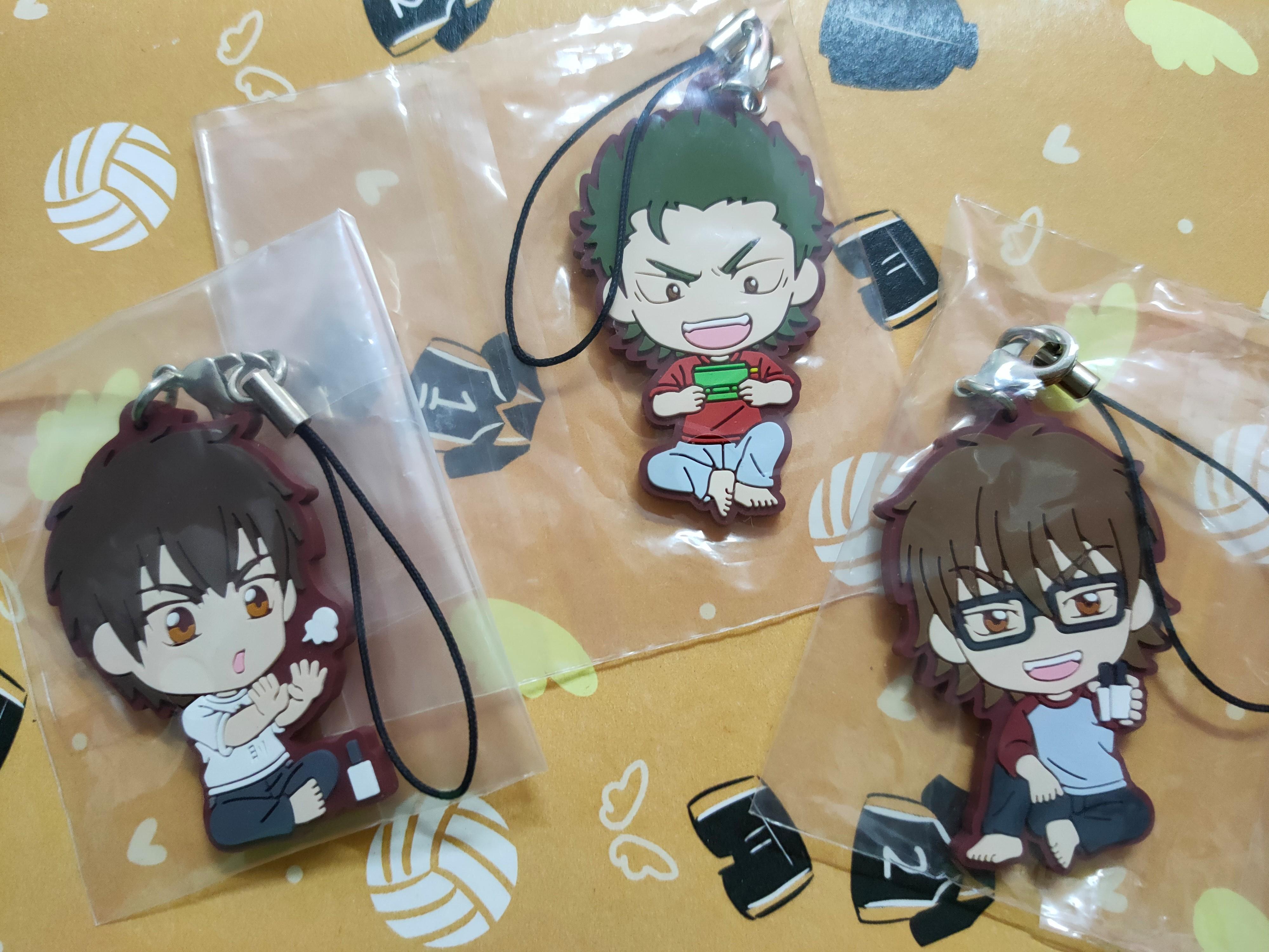 Anime Ace of Diamond Official Rubber Keychain Sawamura Eijun /Miyuki Kazuya/Kuramochi Yoichi