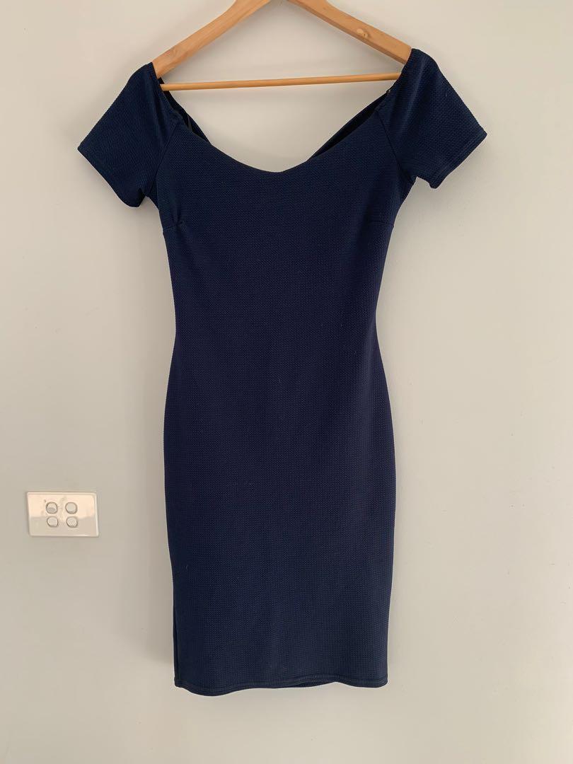 ASOS TFNC London Navy Blue with Open Back Dress size 12