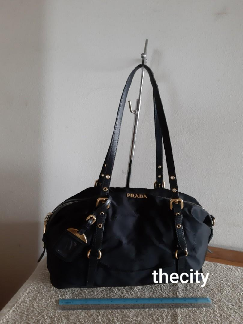 AUTHENTIC PRADA BIG LOGO SHOULDER BAG - BLACK NYLON CANVAS, GOLD HARDWARE- COMES WITH TAG CHARM - CLEAN INTERIOR - OVERALL GOOD- (BOUGHT AROUND RM 5000+)