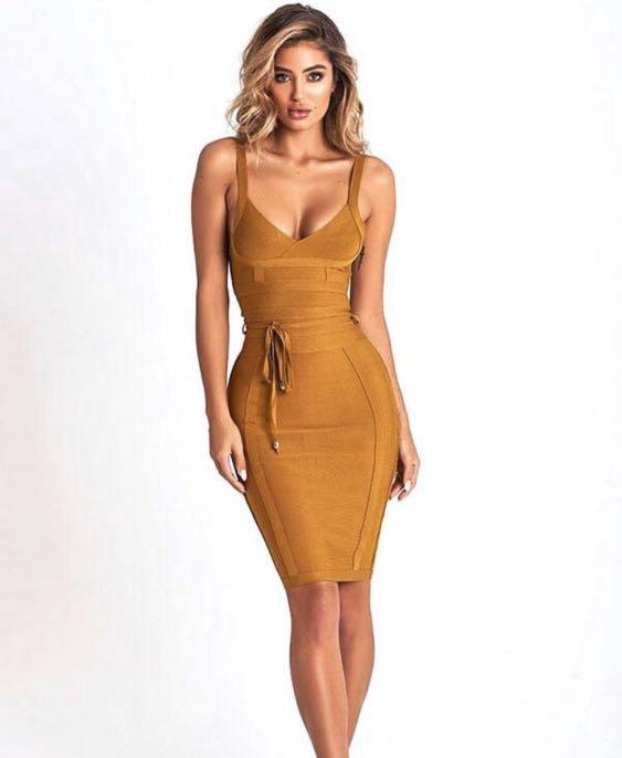 Bronze bandage dress - size small ~ Brand new with tags