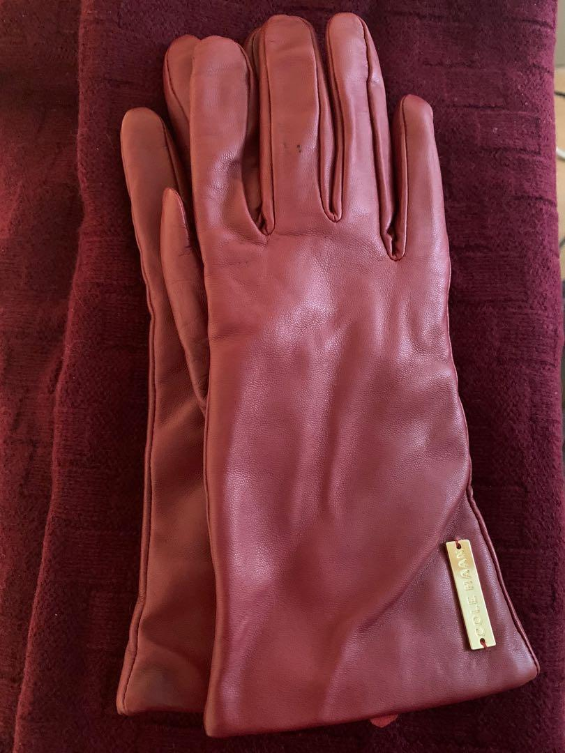 Cole Haan Leather gloves (Sz M), matching wool scarf - burgundy