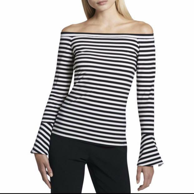 DKNY Womens Black-Ivory Off-The-Shoulder Striped Size Small Top