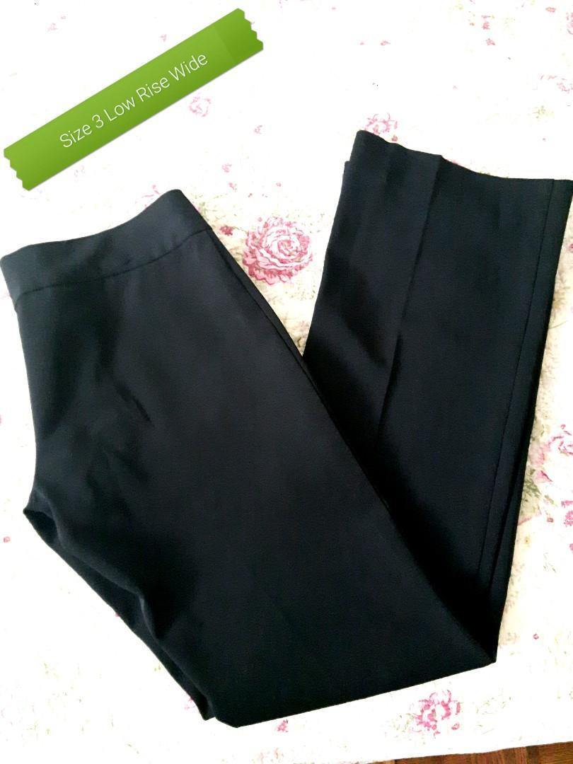 DRESS PANTS SIZE 3 BLACKEST BLACK LOW RISE WIDE LEG
