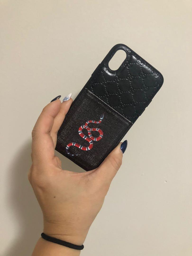 GUCCI IPHONE X snake monogram case with card holder