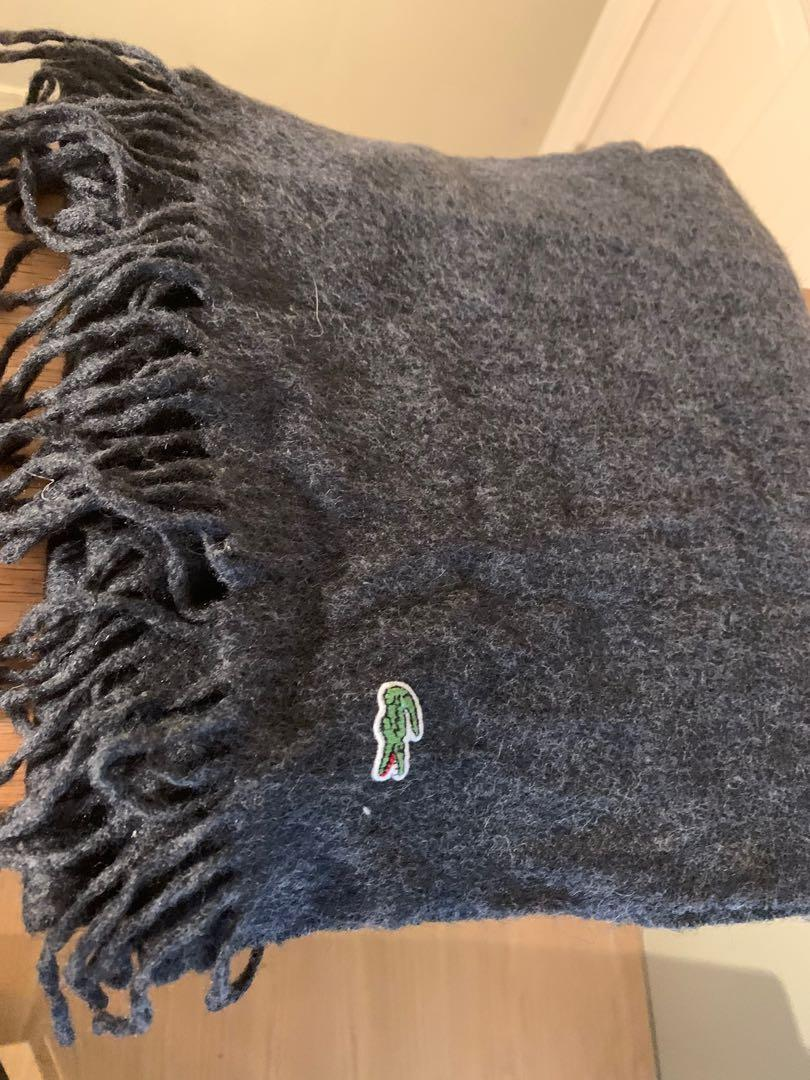 Lacoste scarf - wool and cashmere blend, dark grey