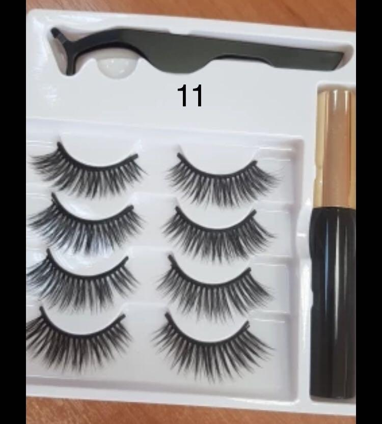 Magnetic eyelashes 4 pairs with magnetic liner and tweezer