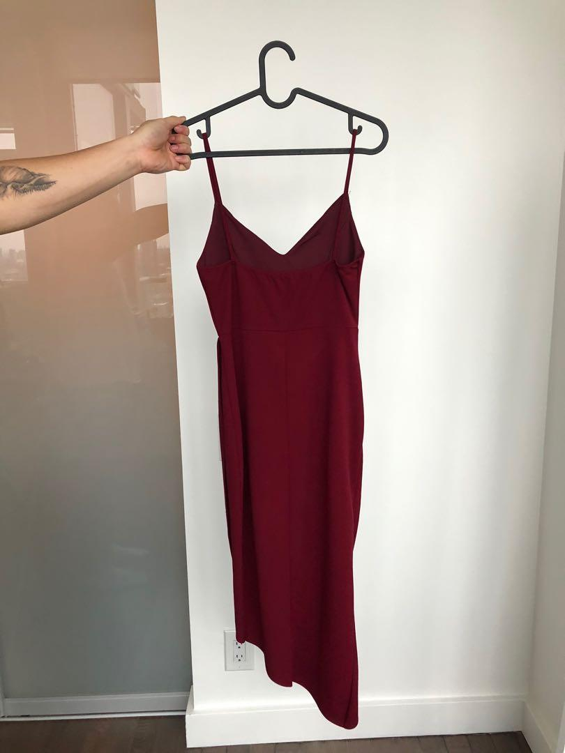 MENDOCINO Burgundy Wrap Style Dress - Size XS (worn ONCE)