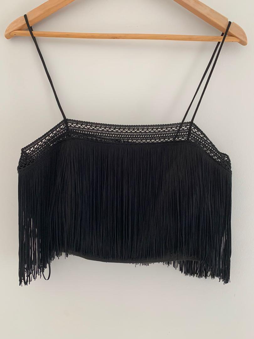 Nicholas Black Tassel Fringe Crop Cami Top Size 10 RRP $352 BNWT