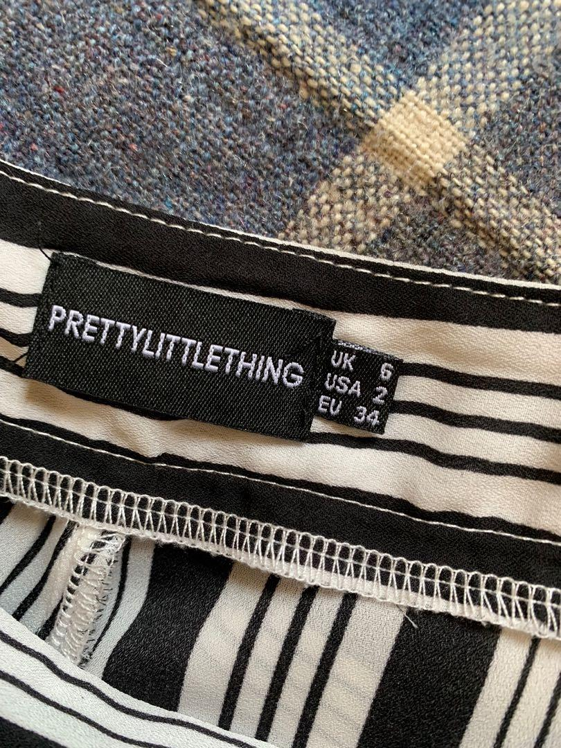 Pretty Little Thing Black Contrast Stripe Mix Wide Leg Trousers - AU Size 6