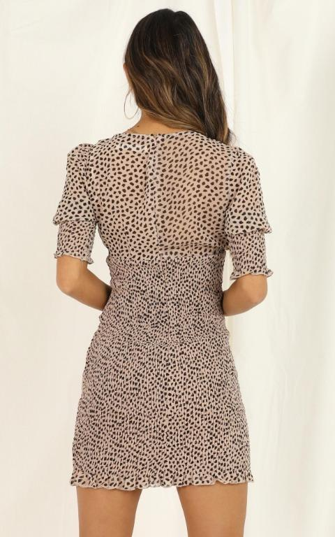 [SHOWPO] Leopard Print Puff Sleeve Shirred Bodycon Mini Dress