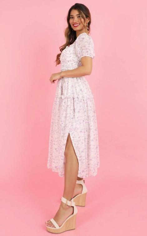 [SHOWPO] Purple Floral Print on White Maxi Puff Sleeve with Side Slit Shirred Dress