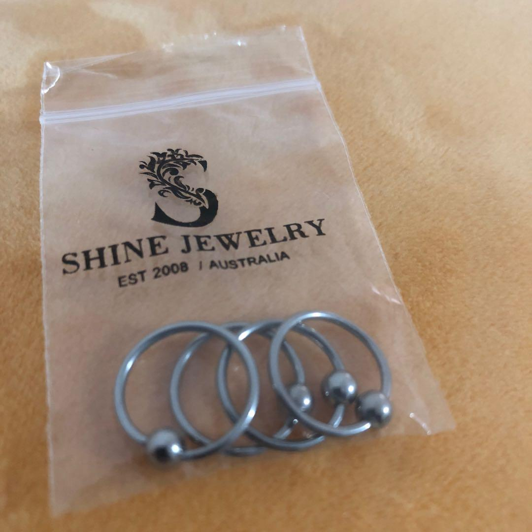 Titanium captive ball loop rings 12mm for helix, septum,cartilage, earlobe