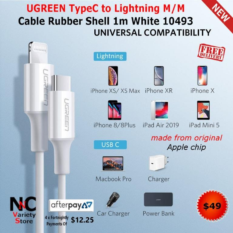 UGREEN TypeC to Lightning M/M Cable Rubber Shell 1m White 10493