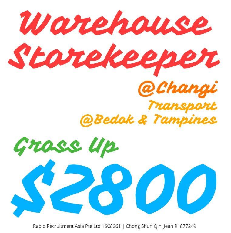 Storekeeper (Gross $2800 /Changi /Trpt Provided) - JQ