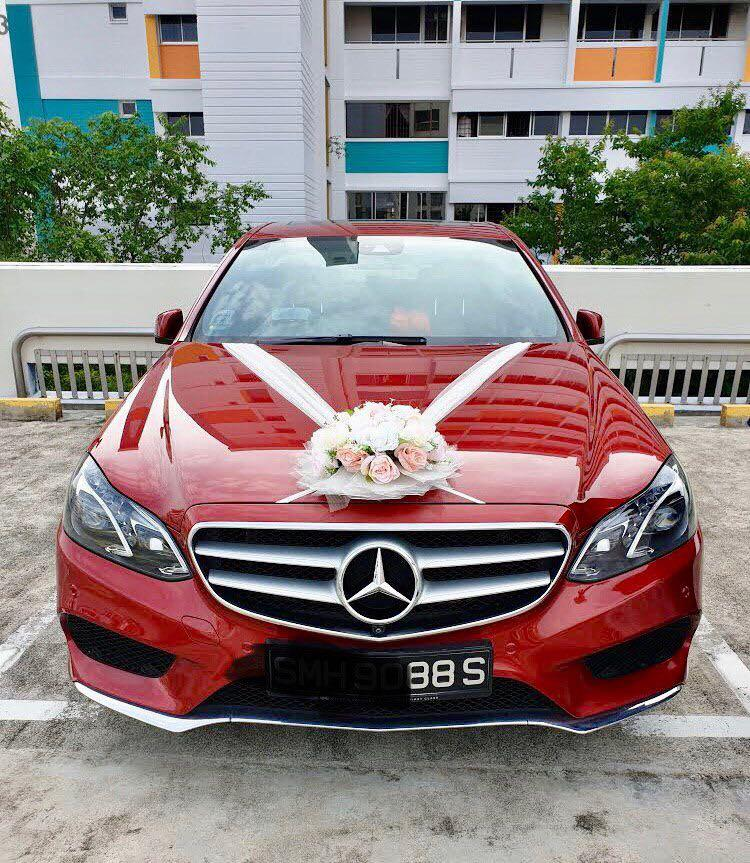 Wedding/Bridal Car: Custom Red Mercedes E250 AMG Edition E (number plate ending with 88)