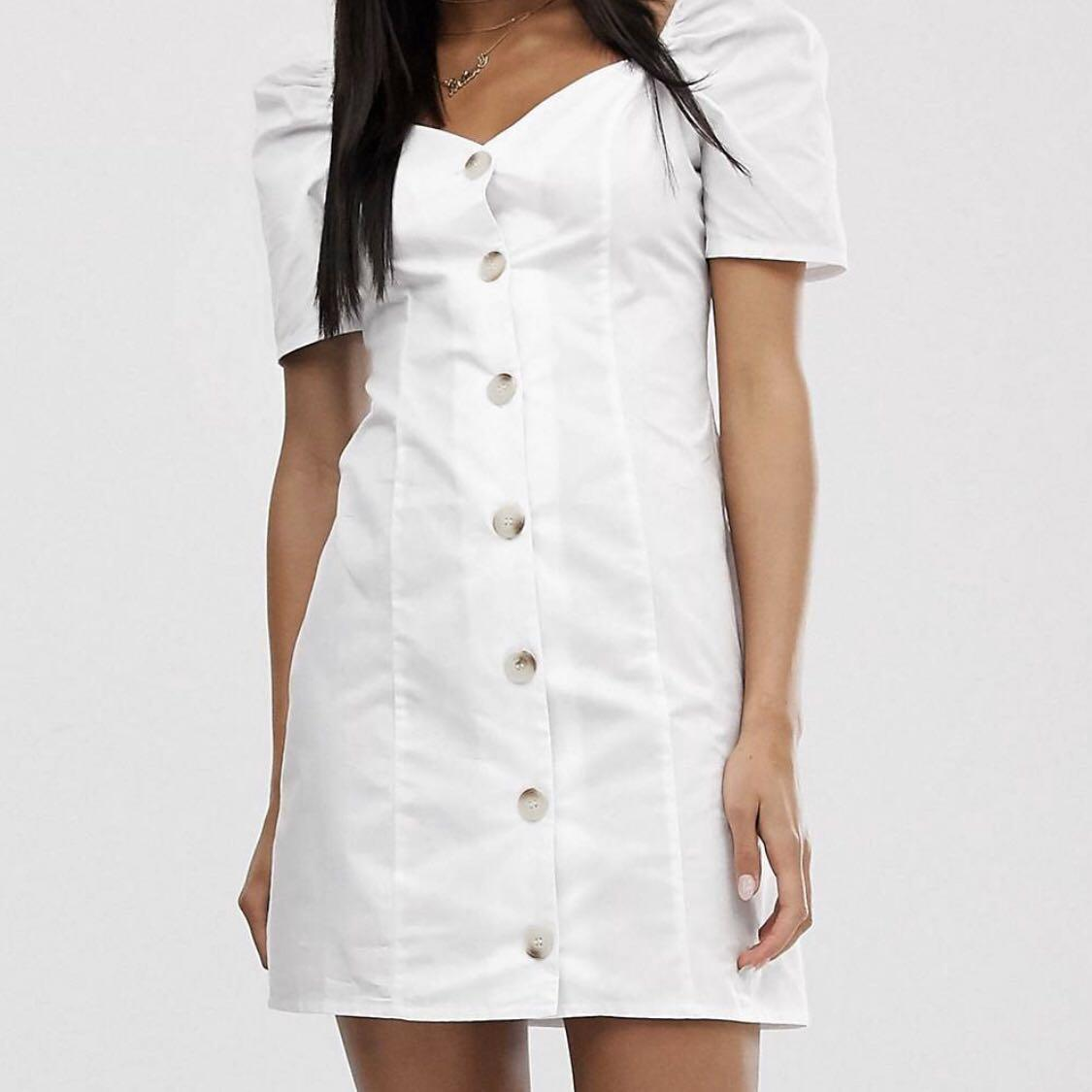 White Button Down Dress with Sweetheart Neckline and Puff Sleeves