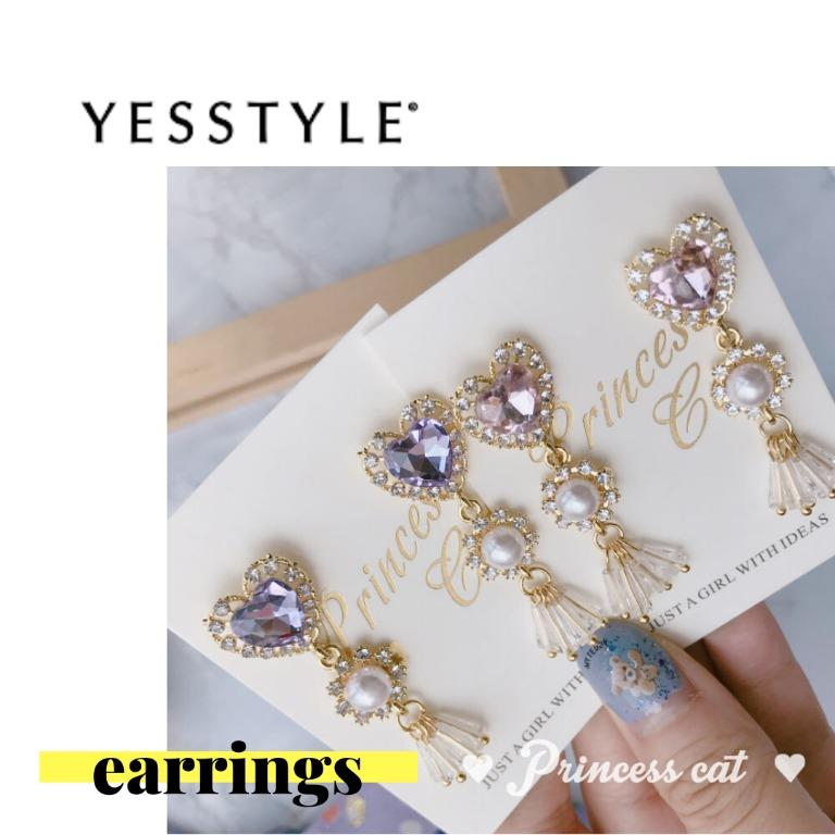 [YESSTYLE] Faux Pearl with Crystal Pink Heart Rhinestone Dangle Clip-On Earrings