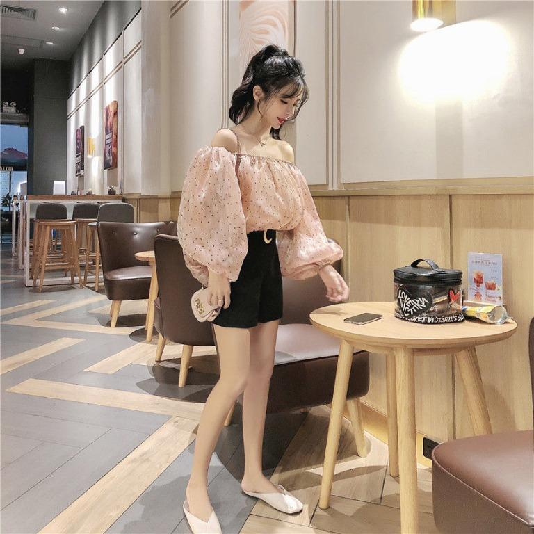 [YESSTYLE] Puff Sleeve Dotted Nude Pink Blouse Top