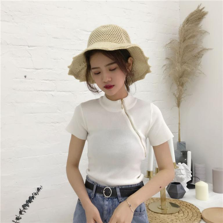 [YESSTYLE] White Mock Neck with Gold Side Zip Crop Knit Top