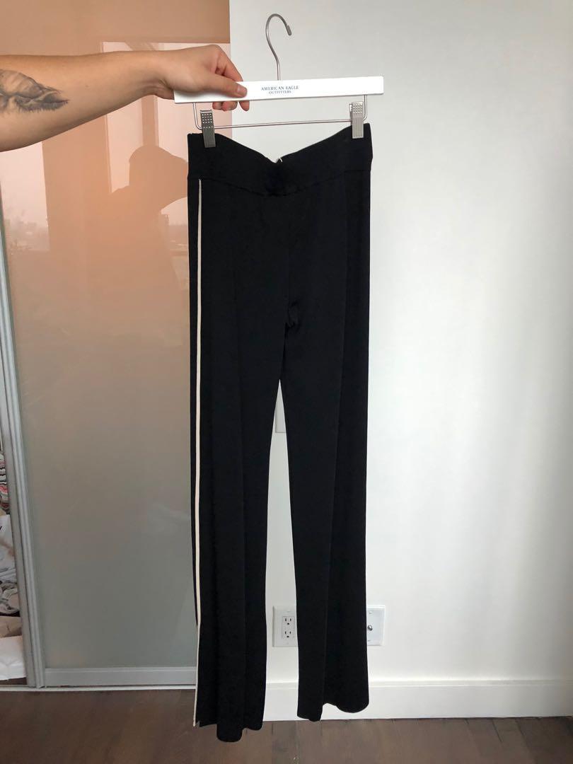 ZARA Black Knit Trousers with Slit Hem - Size Small