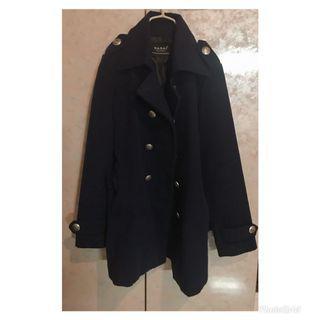 騎士風深藍色排扣大衣外套
