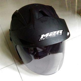 二手M2R 機車3/4罩復古安全帽 霧面黑