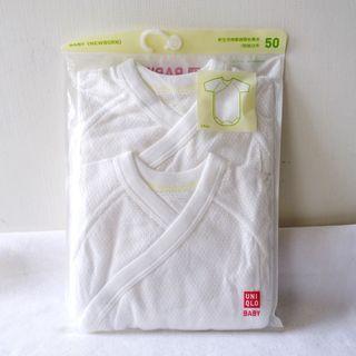 Uniqlo白色網眼短袖新生兒嬰兒圓領長袖連身包屁褲包臀衣兩件入50cm