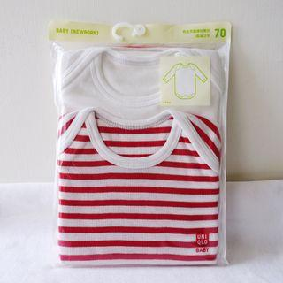 Uniqlo白色紅色條紋新生兒嬰兒圓領長袖連身包屁褲包臀衣兩件入70cm