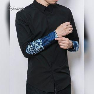 【 Gshop.】中國風男秋改良中式海水江崖繡刺加絨長袖襯衫