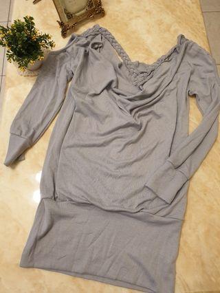 水藍色背編織造型洋裝#出清2019