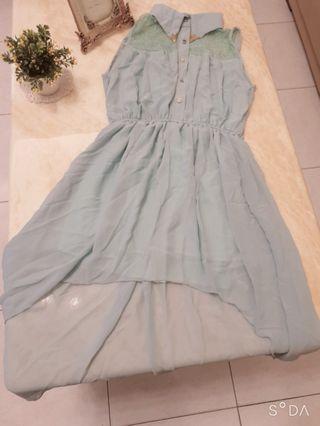 清新水藍雪紡前短後長洋裝