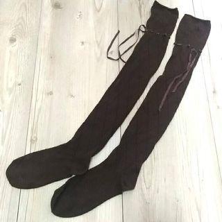 日牌 刻紋膝上襪