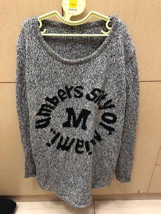 灰色英文針織保暖毛衣