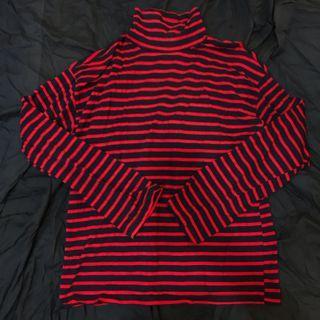 高領 紅黑 條紋 長袖