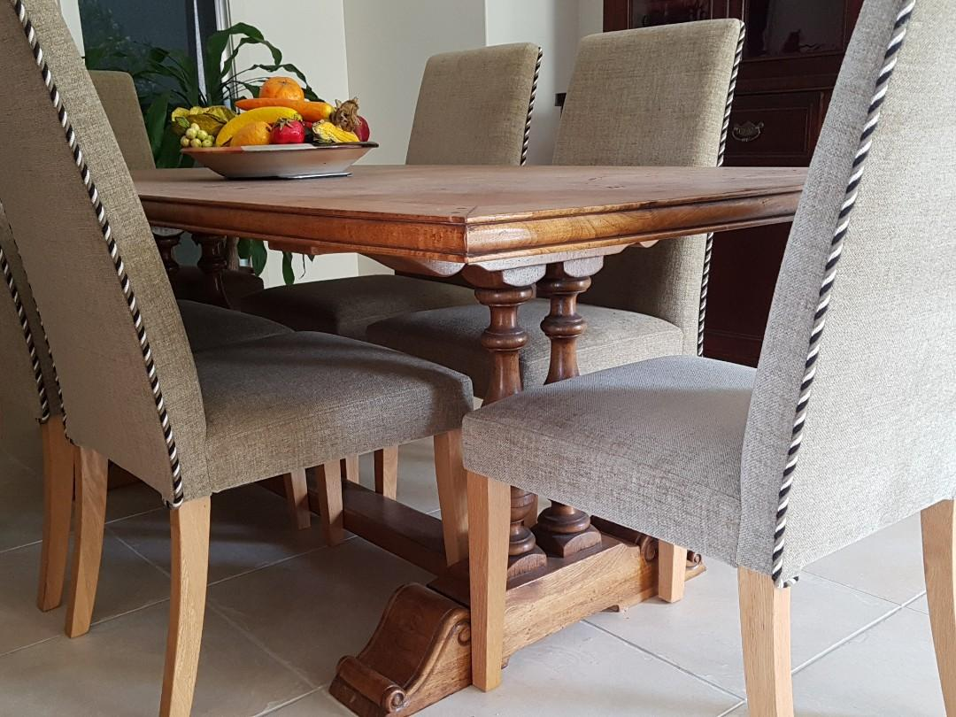 7 PIECE TWIN PEDESTAL FRENCH PARQUETRY DINING TABLE SETTING  + 6 THICK UPHOLSTERED HIGHBACK CHAIRS - REDUCED