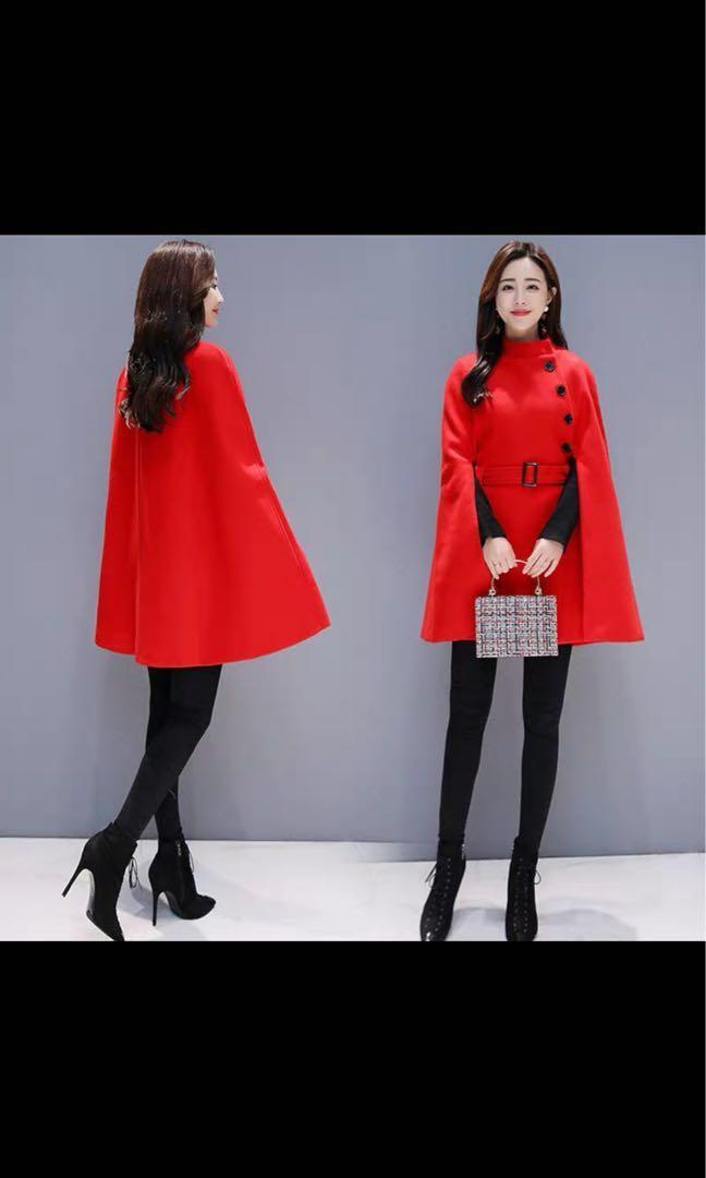 輕柔羊毛冬季通勤斗篷披肩褸 Winter coat wool blend red cape jacket 7 sizes 2XS-2XL 3 colours