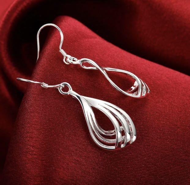 Classic Stunning 925 Sterling Silver Filled Waves Dangle Earrings