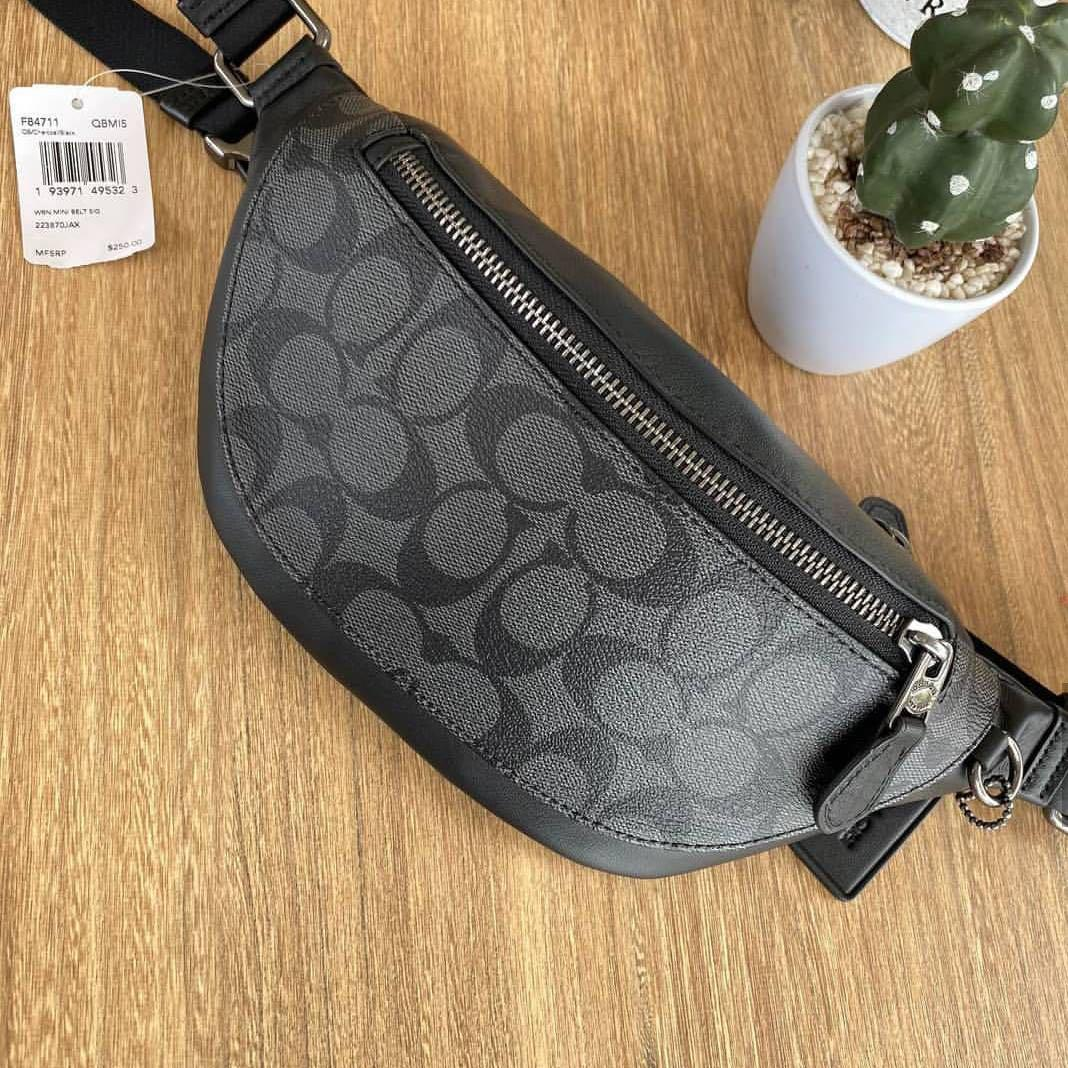 "Coach Sling Bag Authentic Coach NEW Bag WARREN MINI BELT BAG IN SIGNATURE CANVAS (COACH #F84711) สี QB/CHARCOAL/BLACK Size : 11 1/2"" (L) x 4 3/4"" (H) x 2"" (W) 🌟245$ #NewwithTag#CoachCareCard#DustBag # Guaranteed Authentic100% FromCoachUSA🇺🇸 Pm me,thanks"